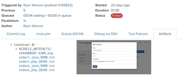 Behat on CircleCI with Failure Screenshots